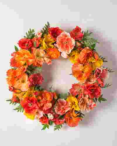 Spring Poppy Flower Wreath by Balsam Hill