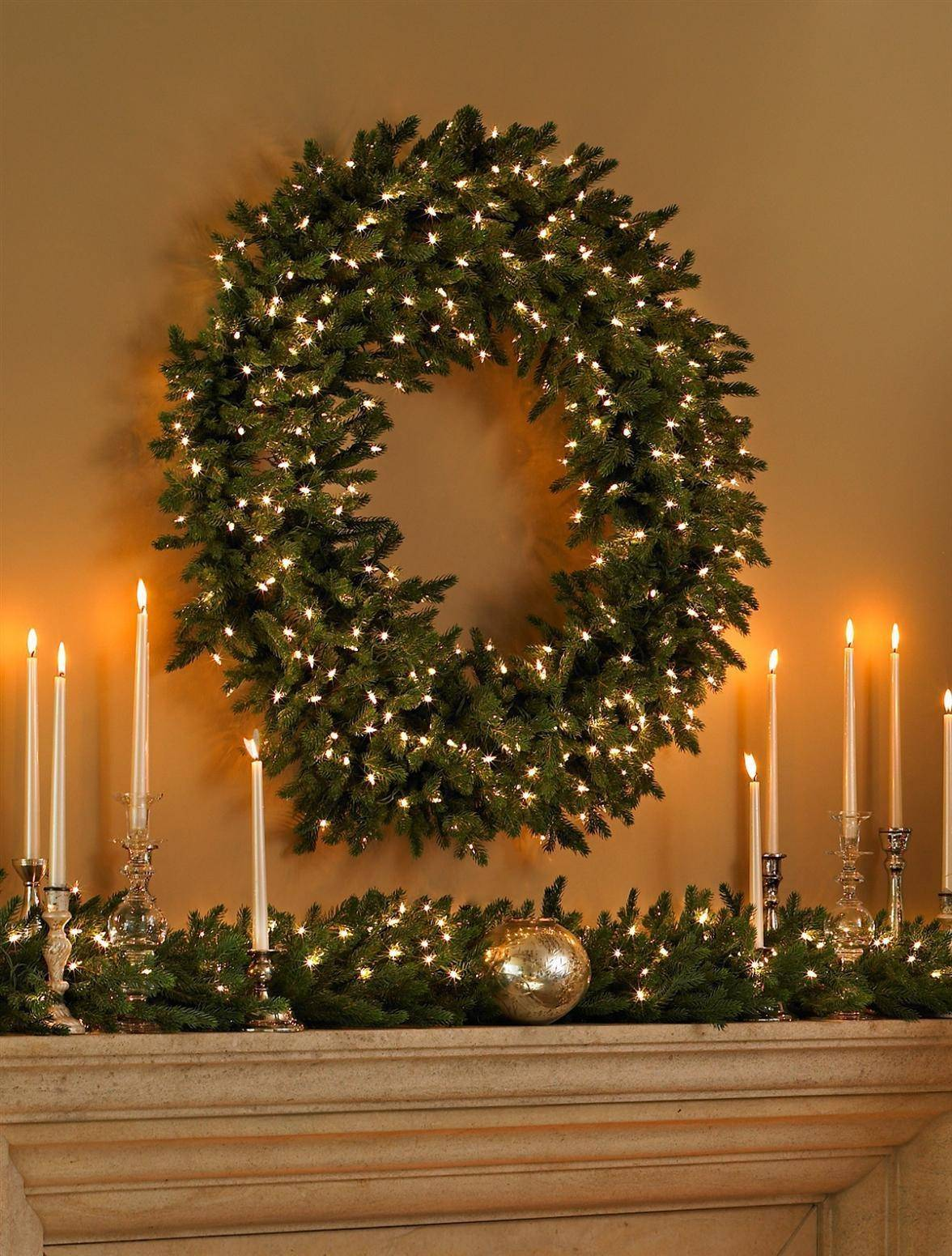 Colorado Mountain Spruce Wreath And Garland Balsam Hill Thread Realistic Electric Flickering Pillar Candles Alt