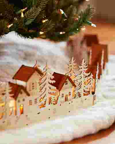 Christmas Village Wood Tree Collar by Balsam Hill