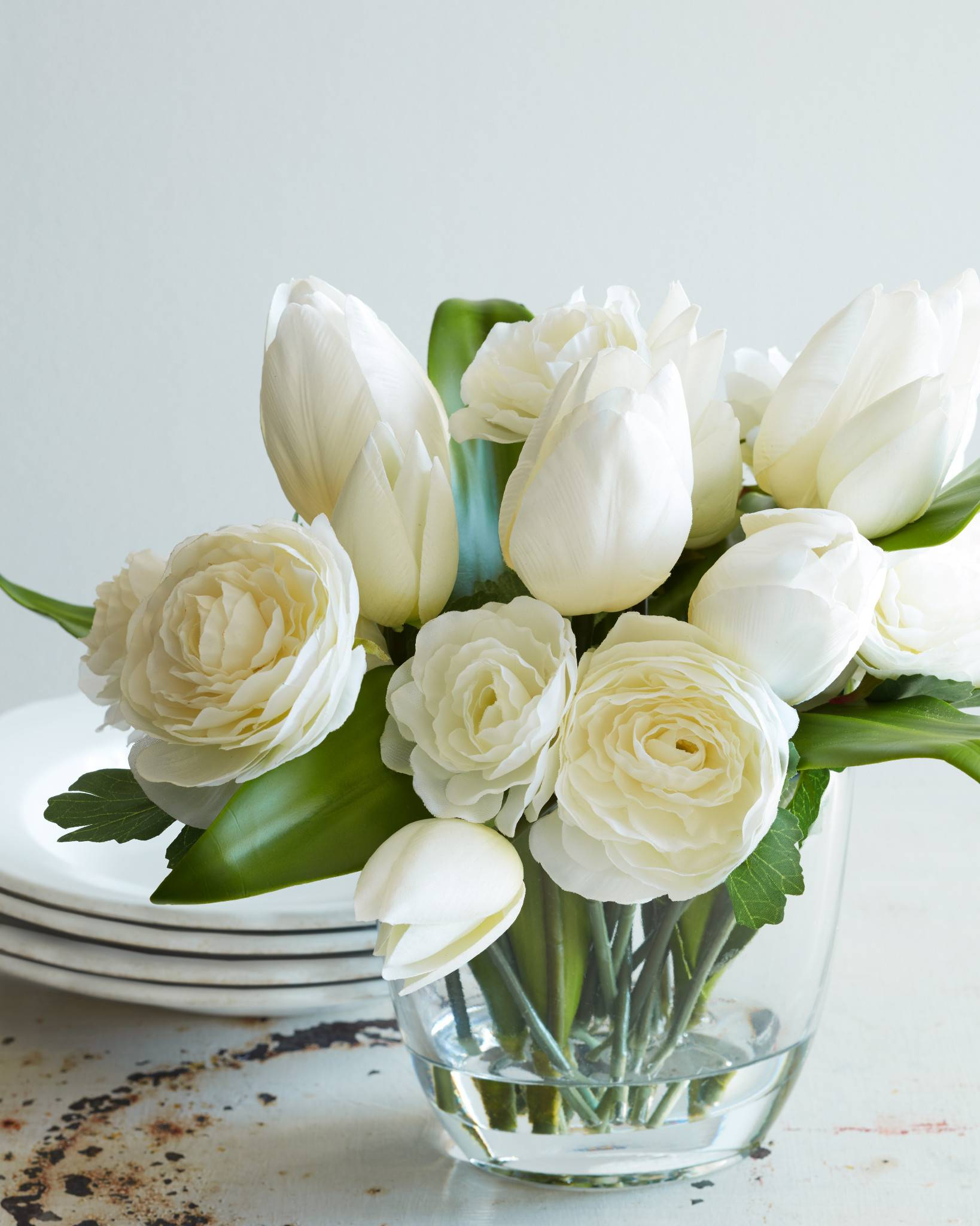 Tulip ranunculus flower arrangement balsam hill white tulip and ranunculus arrangement mightylinksfo