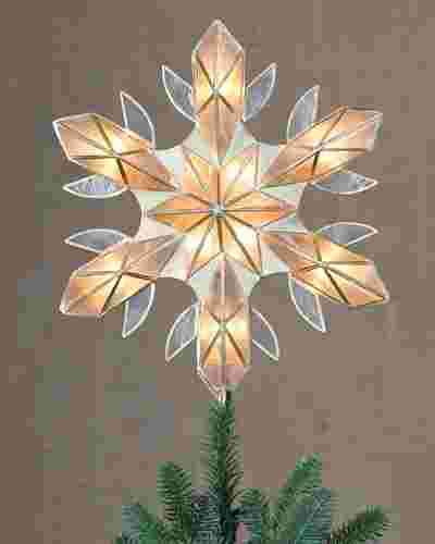 Capiz Snowflake Lighted Christmas Tree Topper by Balsam Hill