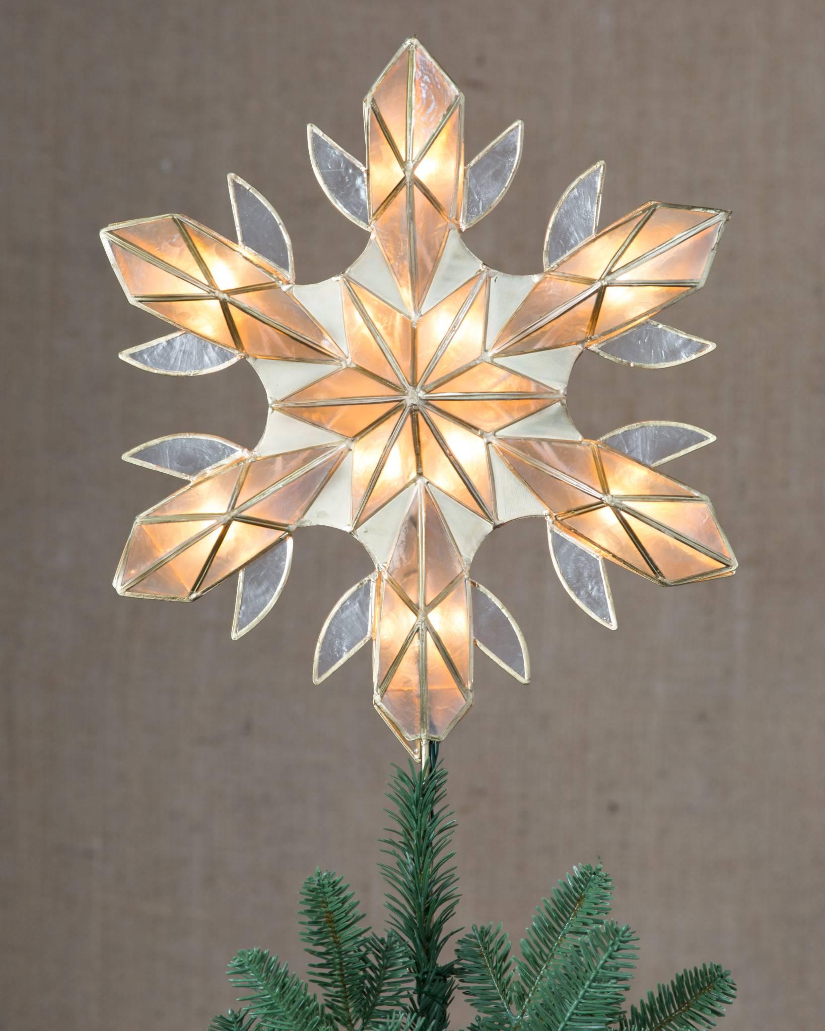Capiz Snowflake Lighted Tree Topper Balsam Hill