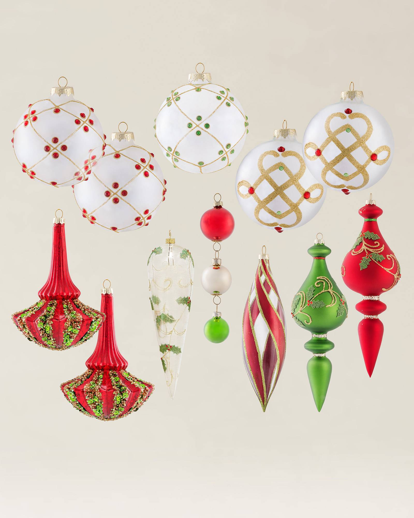 Set of 12 Mistletoe and Holly Ornaments | Balsam Hill