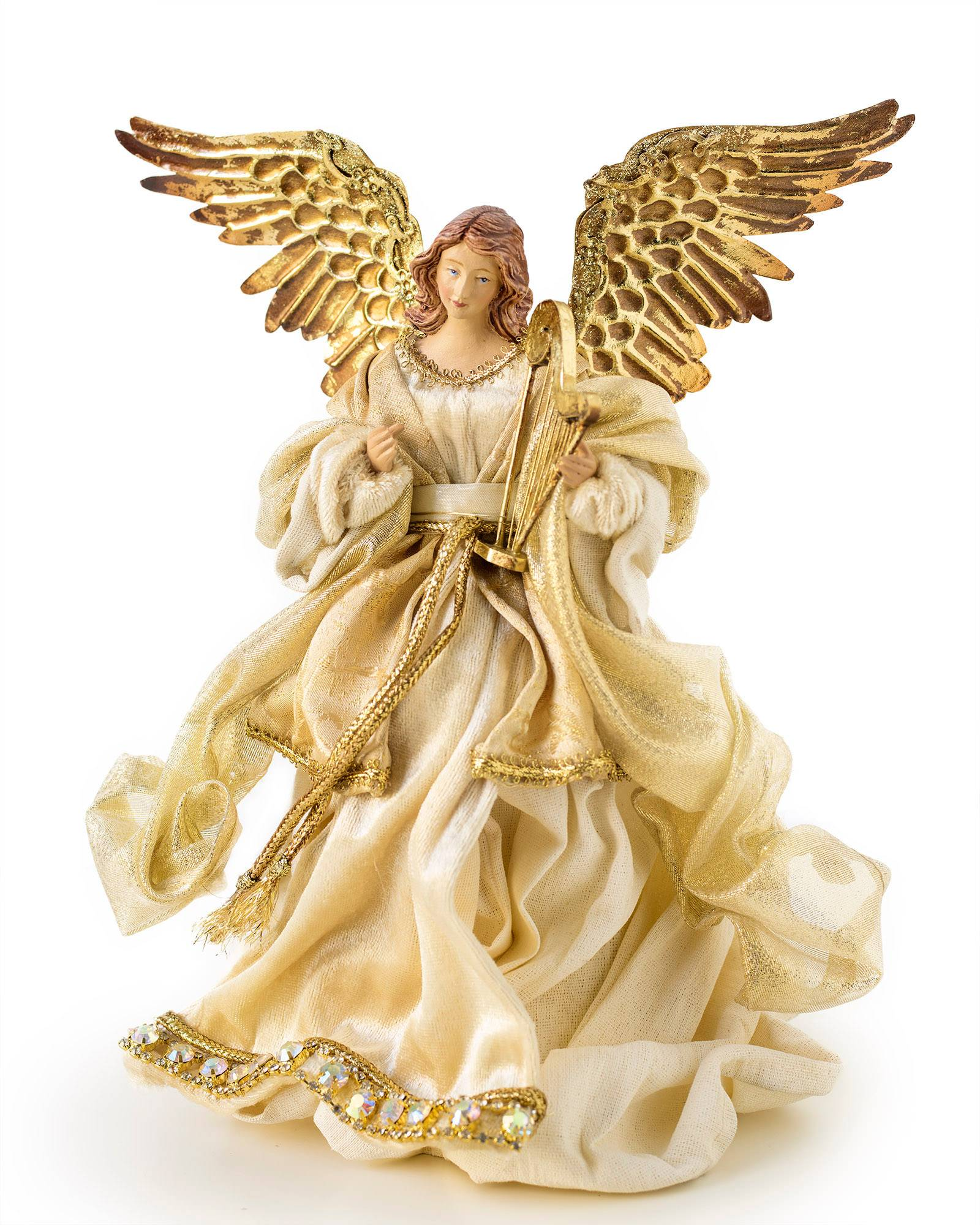 Angel Christmas Tree Topper.Small Gold Angel Tree Topper