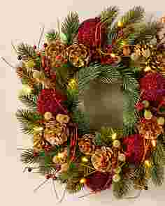 Vermont White Spruce Bordeaux Wreath by Balsam Hill