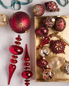 brilliant bordeaux ornament set by balsam hill - Decorating Christmas Ornaments