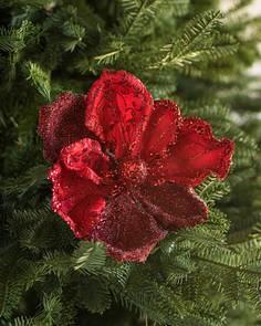 Red Glitter Magnolia Pick Set Balsam Hill
