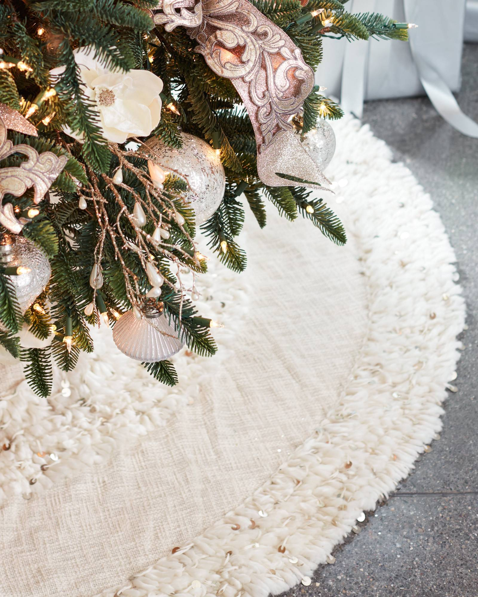 juliette fringed tree skirt main image - Cheap Christmas Tree Skirts