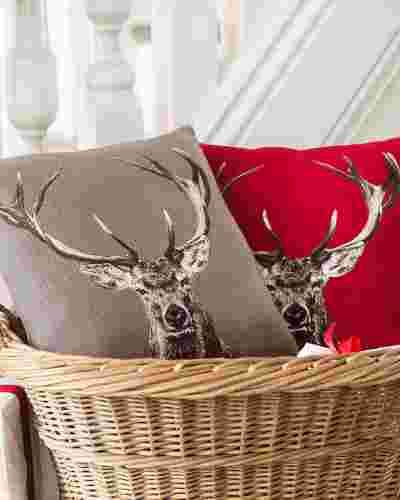 Red French Staghead Pillow Main