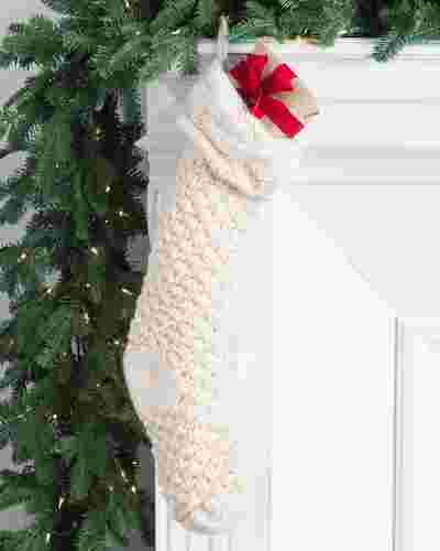 Ivory Chunky Knit Christmas Stocking by Balsam Hill SSC 10