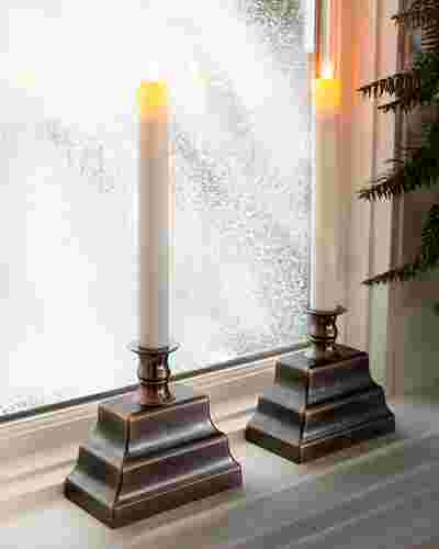 Oil-Rubbed Bronze Miracle Flame LED Window Candles, Set of 2 by Balsam Hill SSC 10