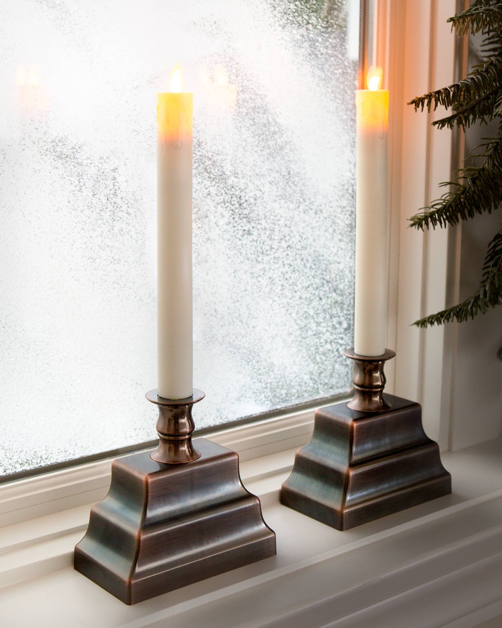 miracle flame led window candles set of 2 balsam hill