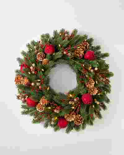 Vermont White Spruce Bordeaux Wreath by Balsam Hill SSC