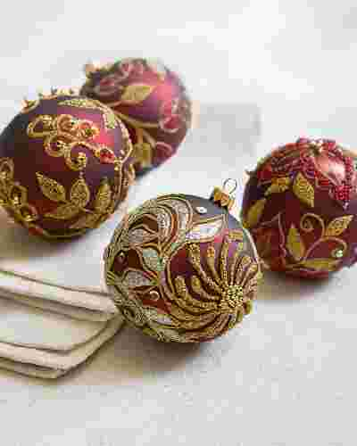 Burgundy and Gold Decorated Glass Ball Ornament Set, 4 Pieces by Balsam Hill