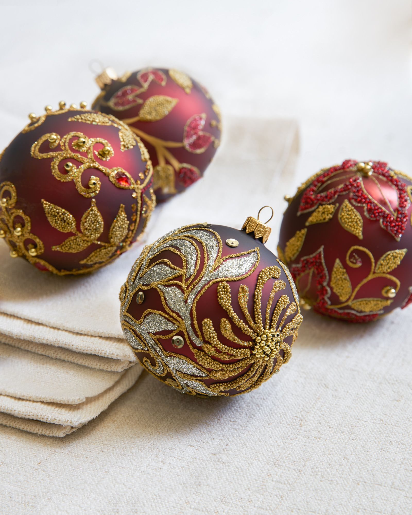 Glass Ball Ornaments Decorate: Decorated Glass Ball Ornaments,Set Of 4