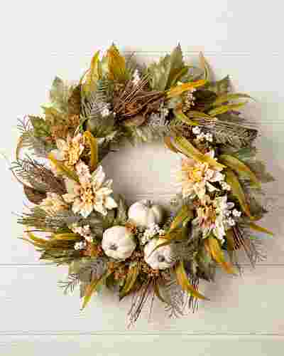 Dahlia & Pumpkin Forest Wreath by Balsam Hill SSC