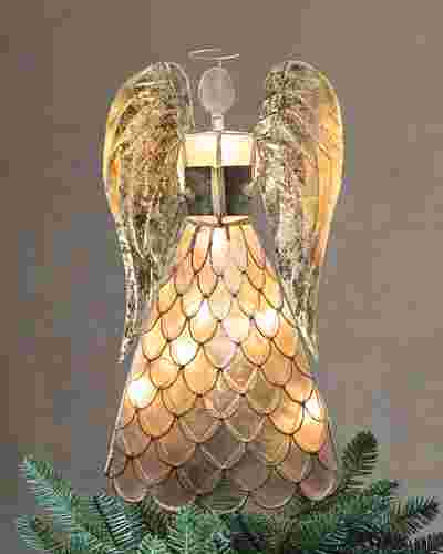 Capiz Angel Lighted Christmas Tree Topper by Balsam Hill
