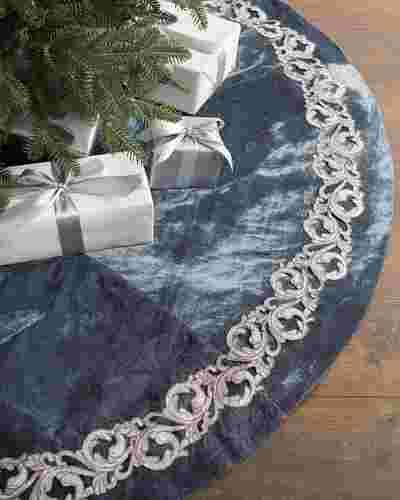 French Blue Velvet Tree Skirt by Balsam Hill