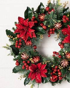 outdoor festive poinsettia wreath by balsam hill - Artificial Christmas Wreaths Decorated