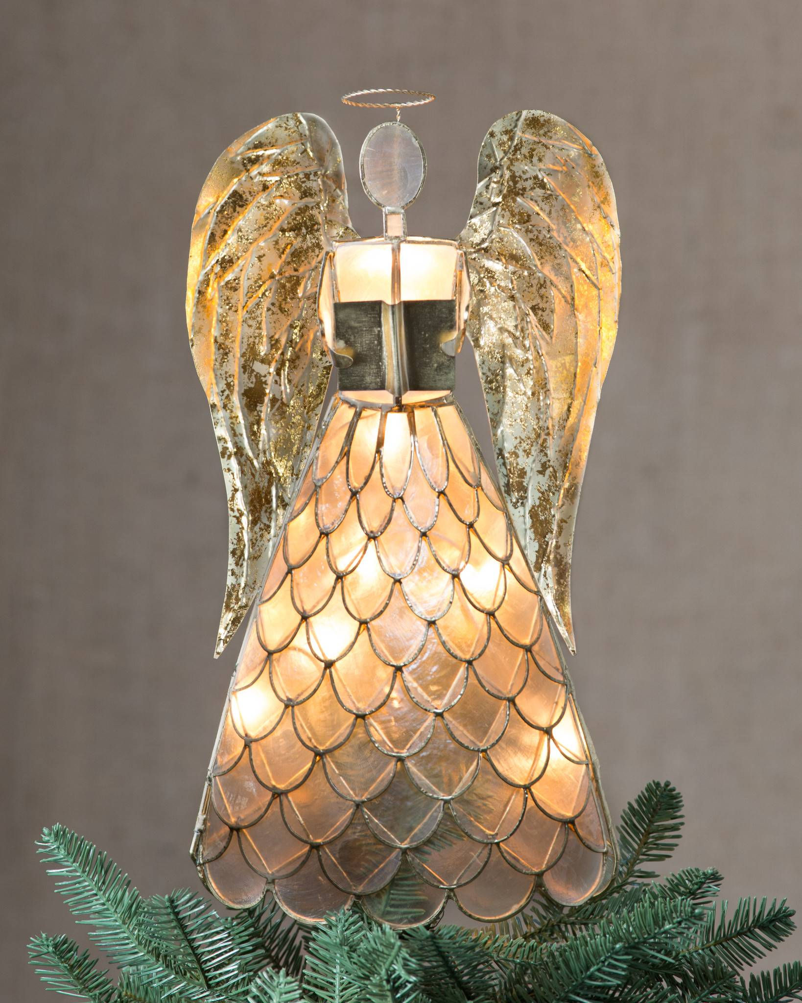 capiz angel lighted tree topper by balsam hill