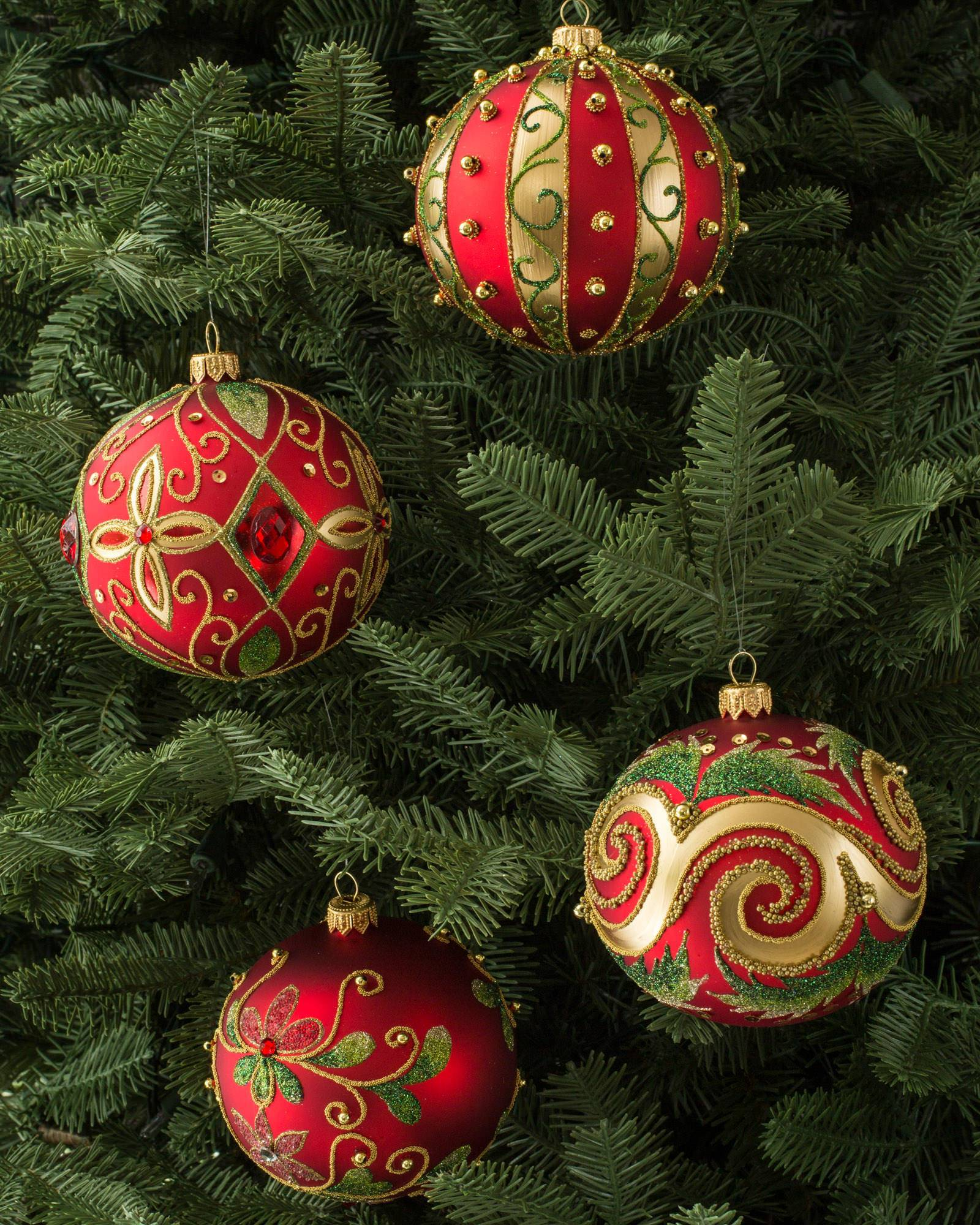 burgundy and gold decorated glass ball ornament set - Red And Green Christmas Decorations