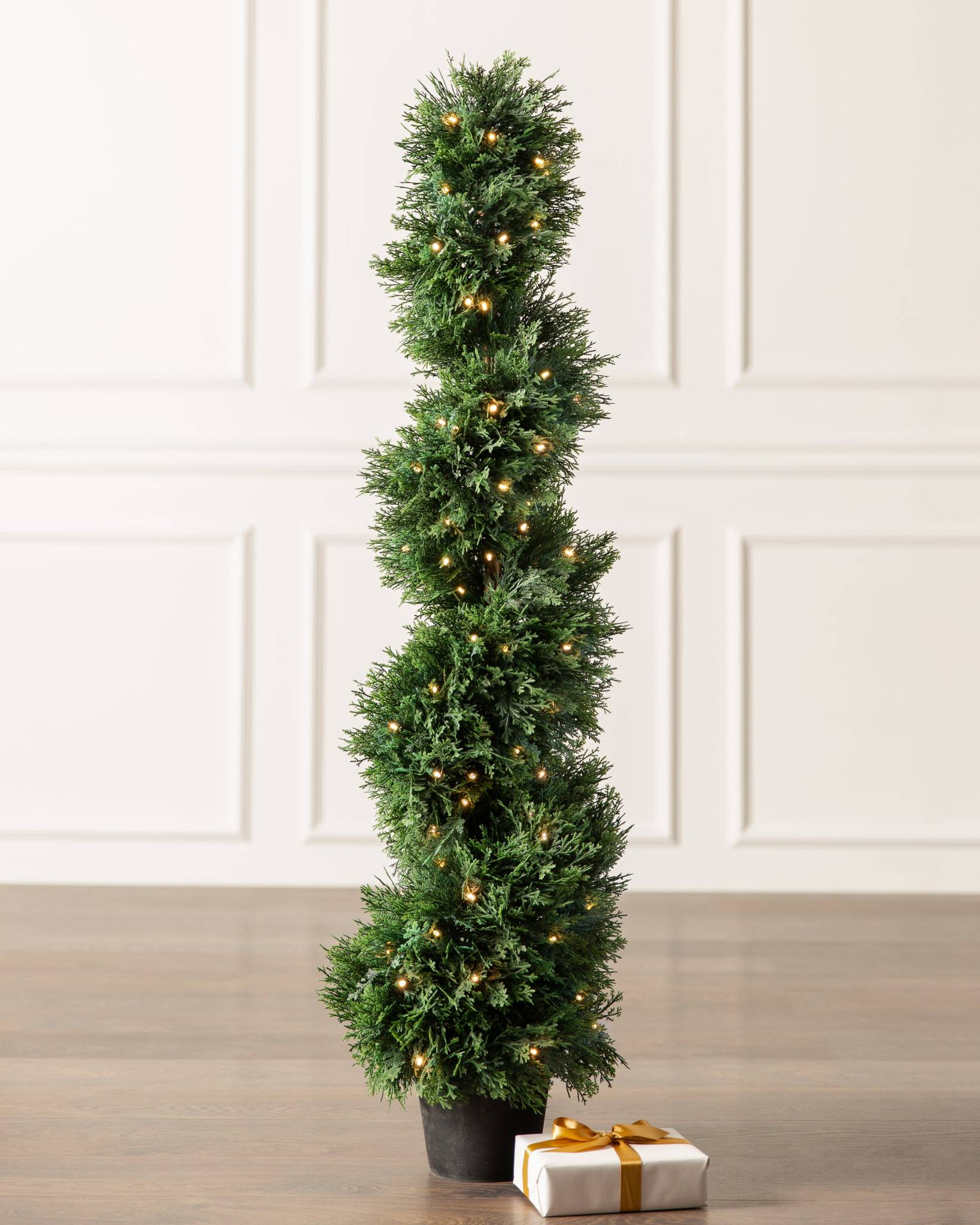 outdoor cypress spiral topiary by balsam hill - Outdoor Christmas Decorations Led Spiral Tree
