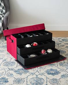 72 piece christmas ornament storage box by balsam hill - Christmas Decoration Storage Containers
