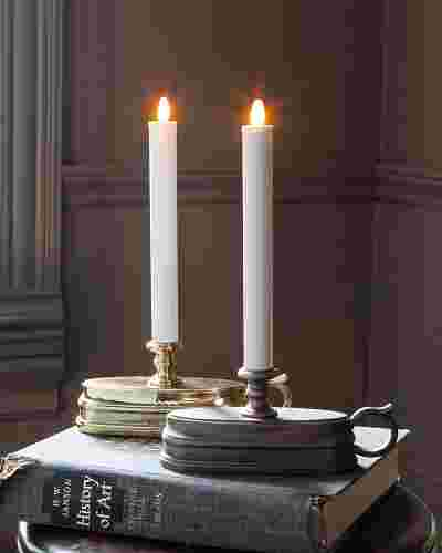 Brushed Bronze Battery-Operated Window Candles, Set of 2 Main