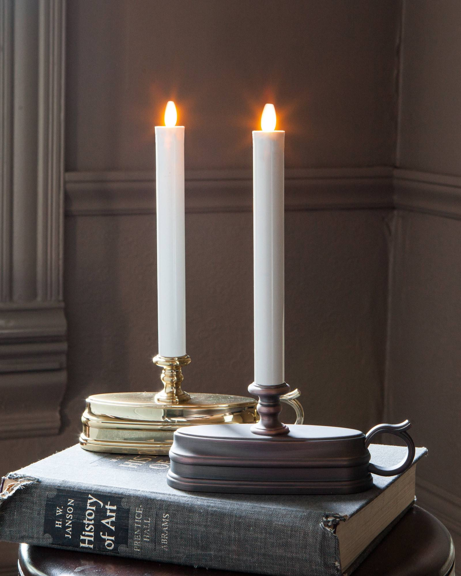 Brushed bronze battery operated window candles