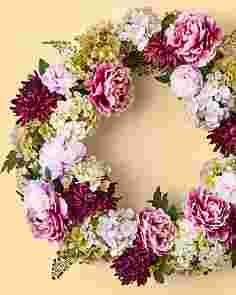 Purple Peony & Hydrangea Wreath by Balsam Hill
