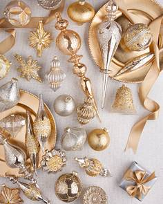 silver and gold ornament set by balsam hill - Gold Christmas Decorations