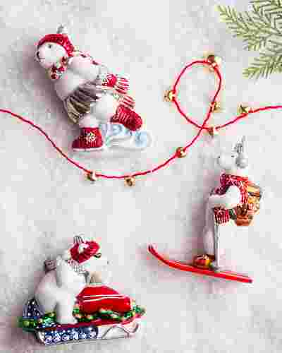 Winter Sports Polar Bear European Glass Ornament by Balsam Hill