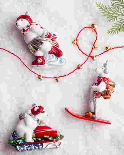 Winter Sports Polar Bear European Glass Ornament by Balsam Hill