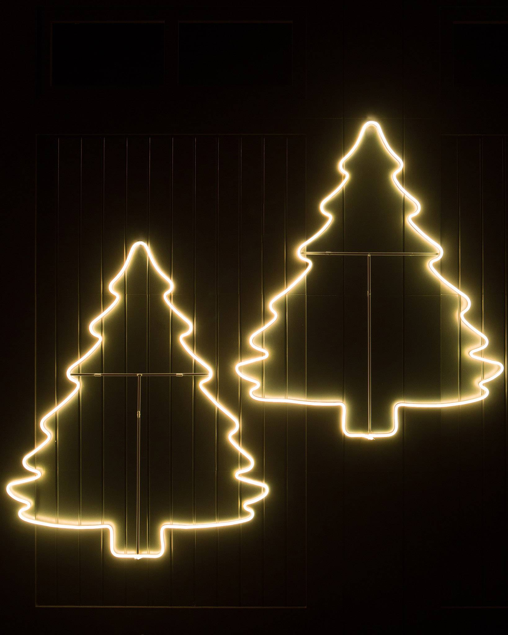 outdoor led holiday tree silhouettes set of 2 by balsam hill - Neon Outdoor Christmas Decorations