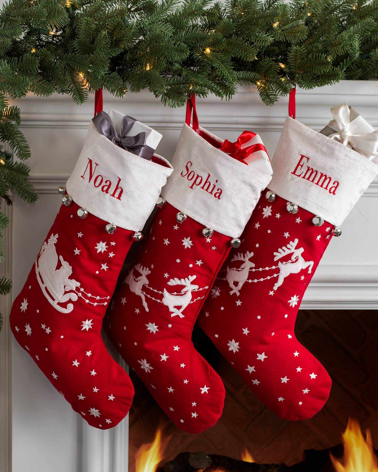 Stocking Christmas.Dashing Through The Snow Stocking Balsam Hill