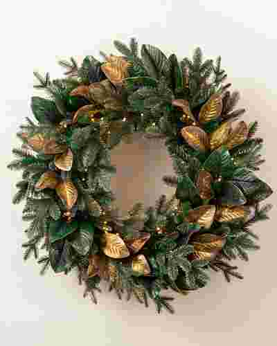Gilded Leaf Magnolia Wreath by Balsam Hill SSC
