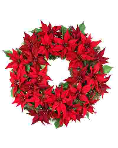 Outdoor LED Poinsettia Wreath by Balsam Hill