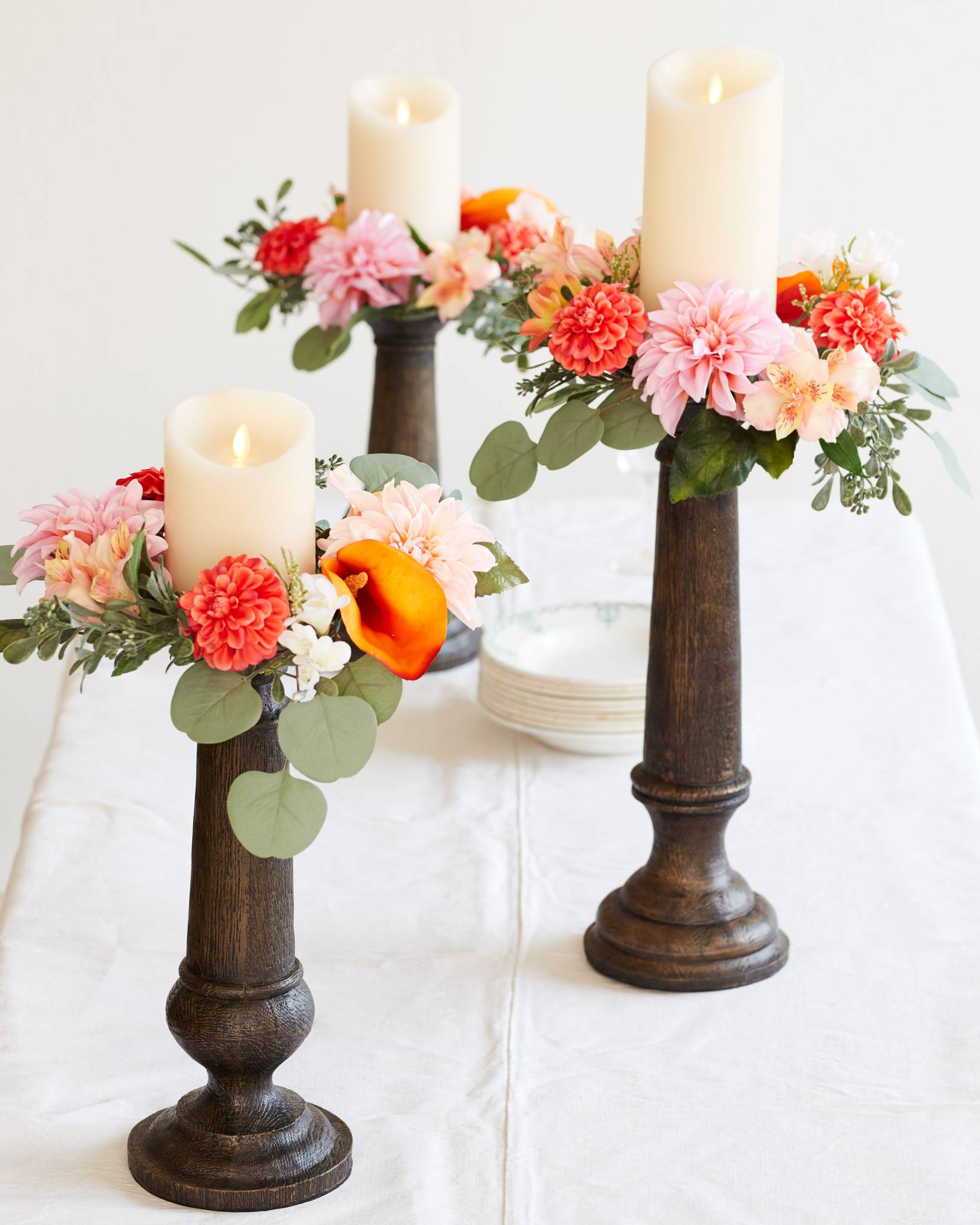 Peach blossom candle rings set of 3 balsam hill faux bois candle holders sold separately mightylinksfo