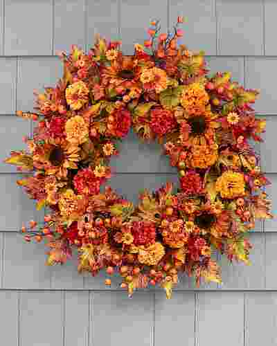 Sunburst Mums Wreath by Balsam Hill High Res