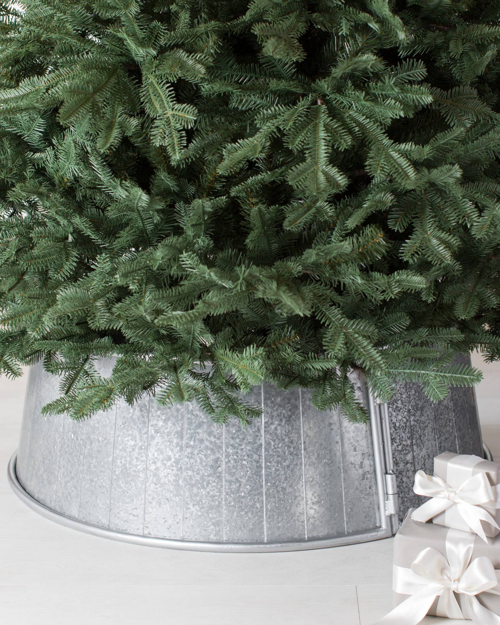 galvanized tree collar main - Rustic Christmas Tree Decorations For Sale