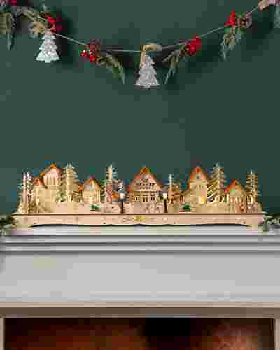 Wooden Christmas Mantel Village by Balsam Hill