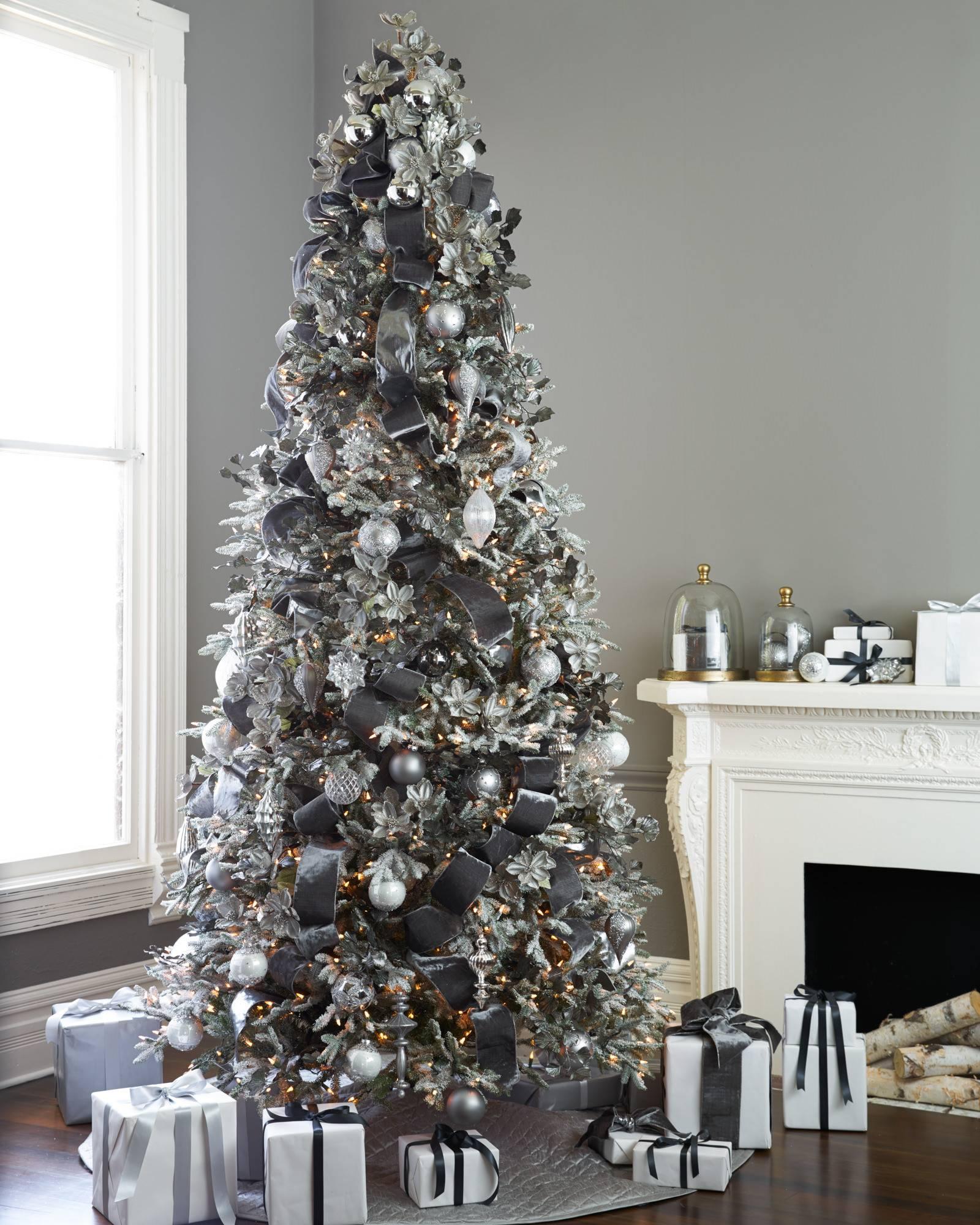 Gray Christmas Tree.Shimmering Metallic Christmas Tree Ribbon Balsam Hill