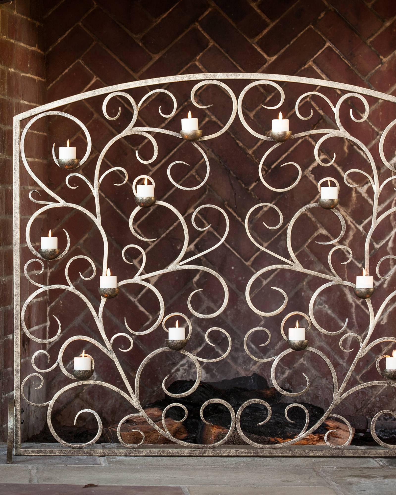 Tea Light Hearth Fireplace Screen (Burnished Gold) | Balsam Hill