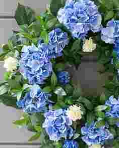 Outdoor Blue Hydrangea Wreath by Balsam Hill
