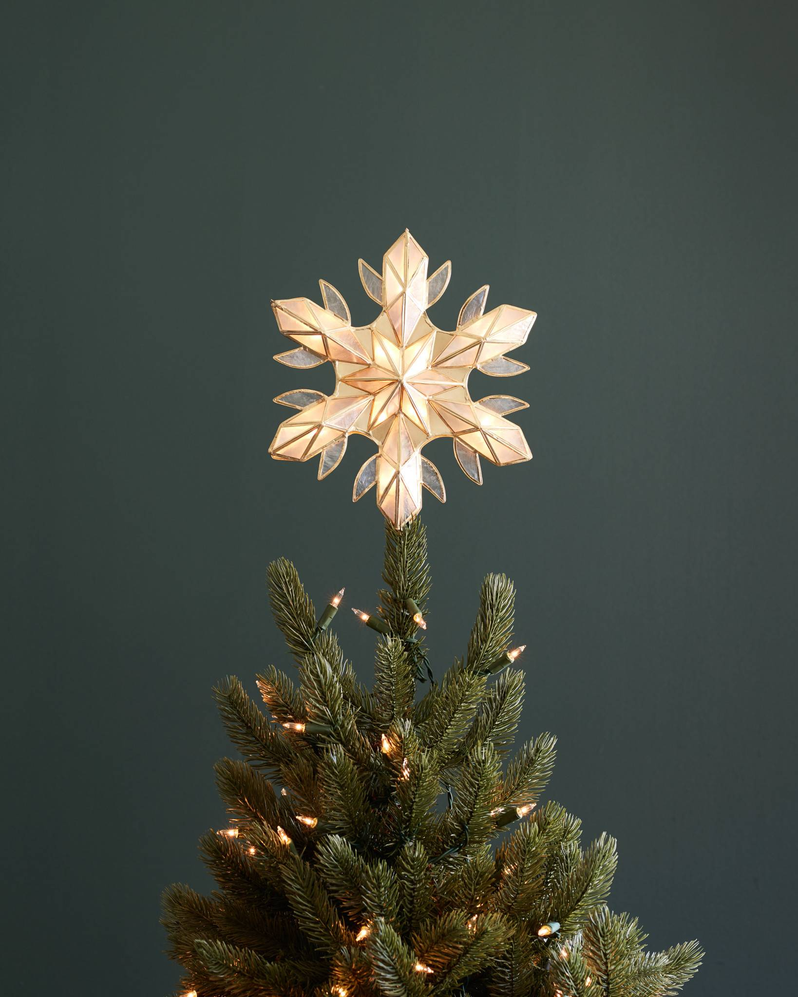 capiz snowflake lighted tree topper by balsam hill - Lighted Christmas Tree Toppers