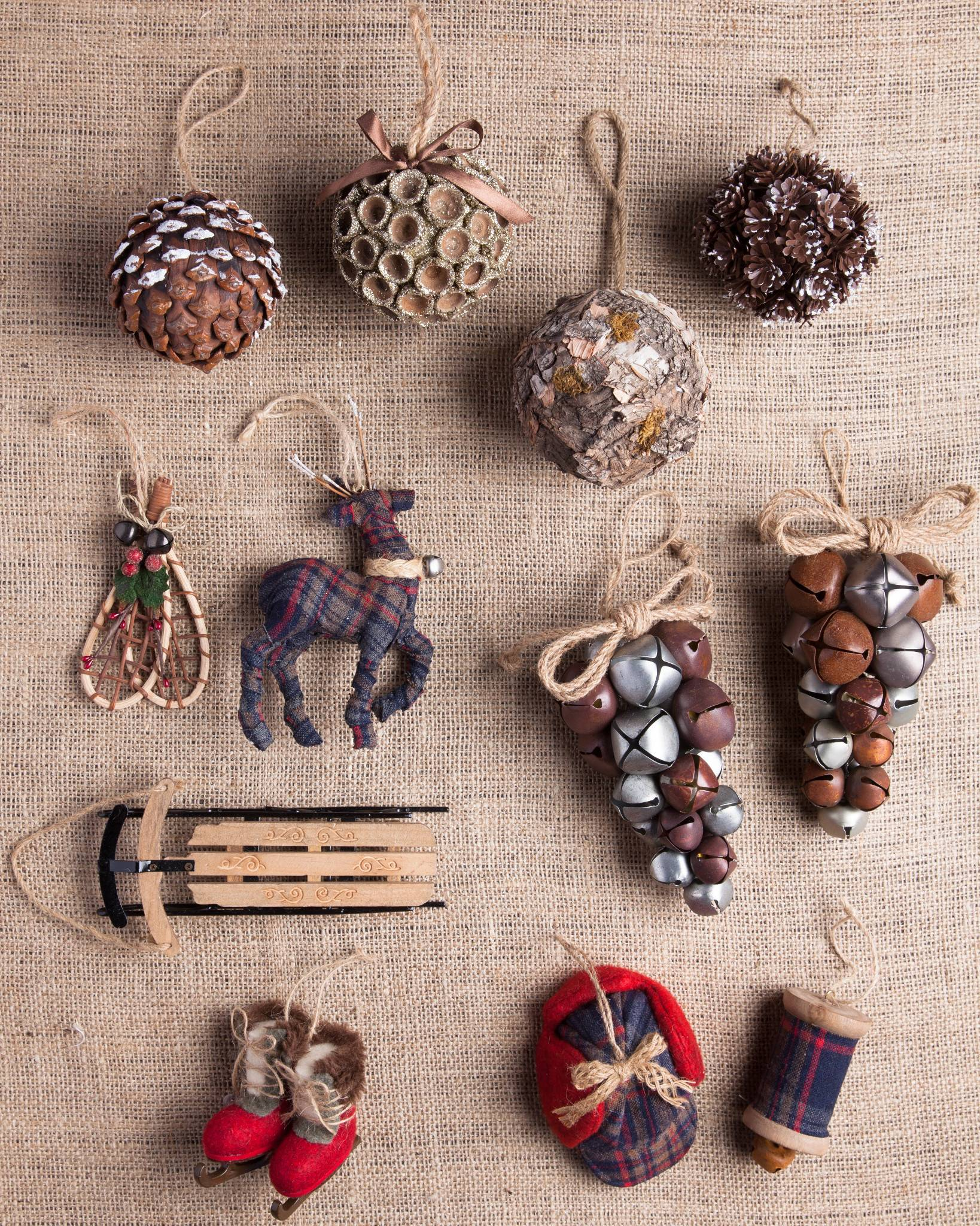 Farmhouse Christmas Mixed Materials Ornament Set 12 Pieces By Balsam Hill