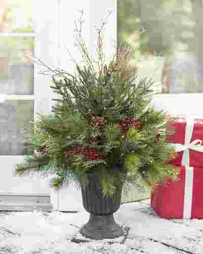 Aurora Pine Christmas Foliage with Urn Planter by Balsam Hill