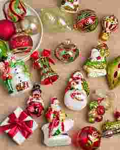 Mistletoe and Holly Glass Ornament Set, 35 Pieces Main