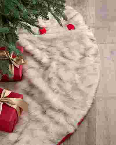 Arctic Holiday Faux Fur Tree Skirt by Balsam Hill
