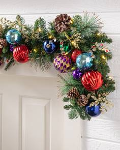 outdoor kaleidoscope garland by balsam hill - Battery Lighted Christmas Decorations